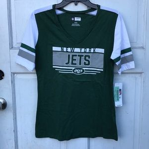 NWT NFL Team Apparel New York Jets V-Neck SS Tee M